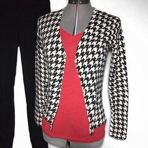 Merona Black Cream Houndstooth Cardigan Sweater XS